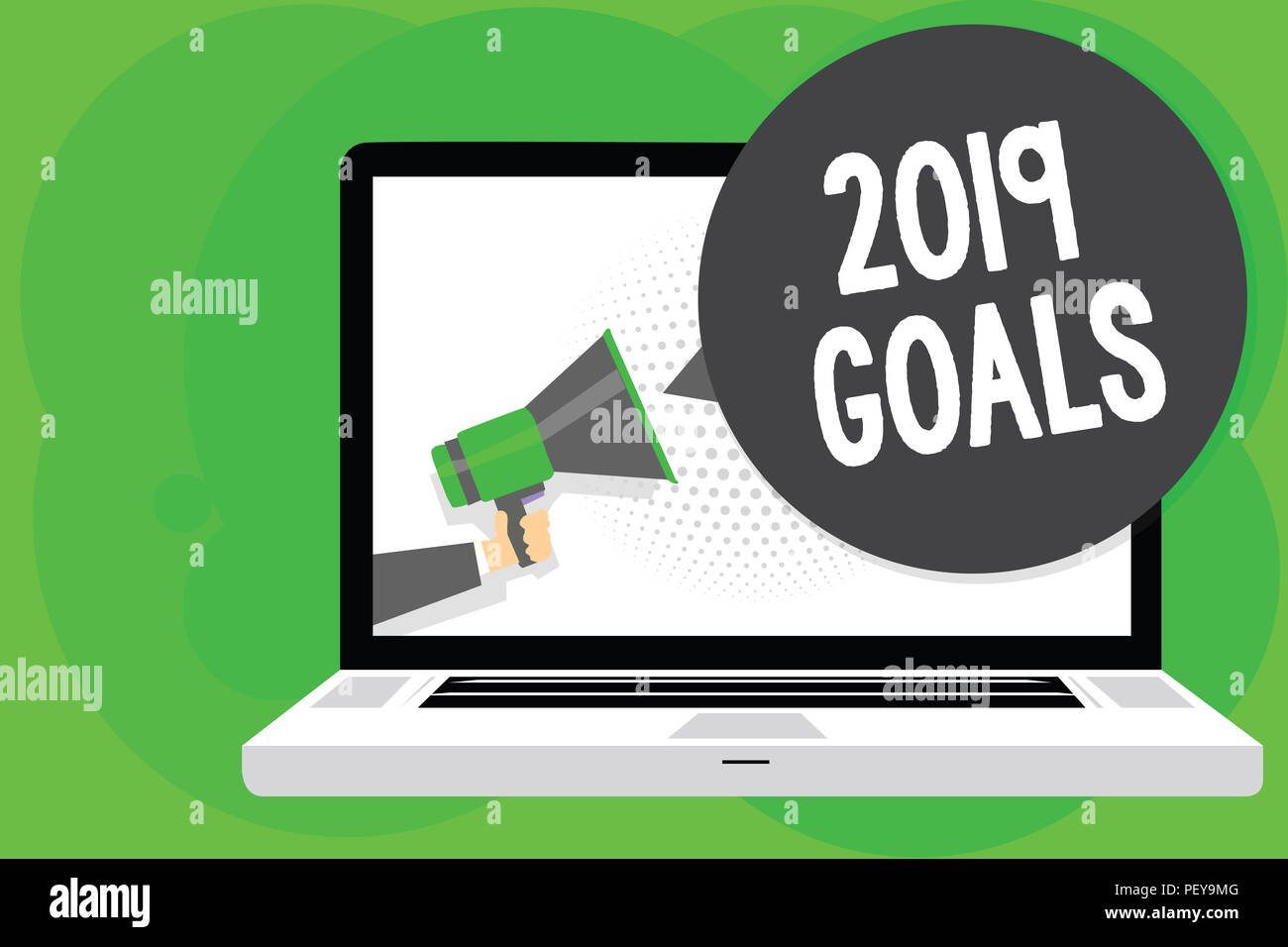 Conceptual hand writing showing 2019 Goals. Business photo text A plan to do for something new and better for the coming year Man holding Megaphone lo - Stock Image