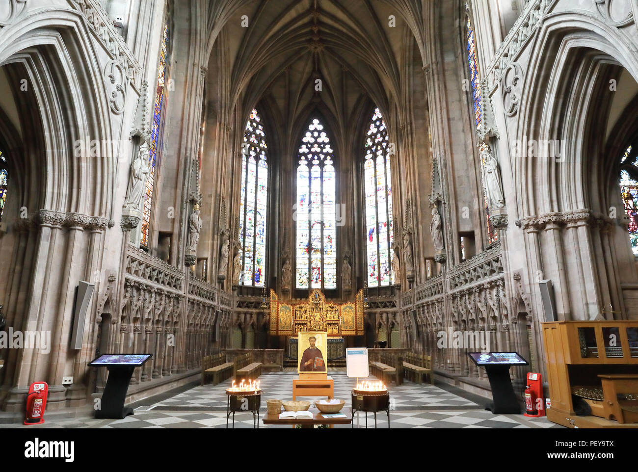 Interior of the medieval Cathedral in Lichfield, in the heart of Staffordshire, just north of Birmingham, England, UK - Stock Image