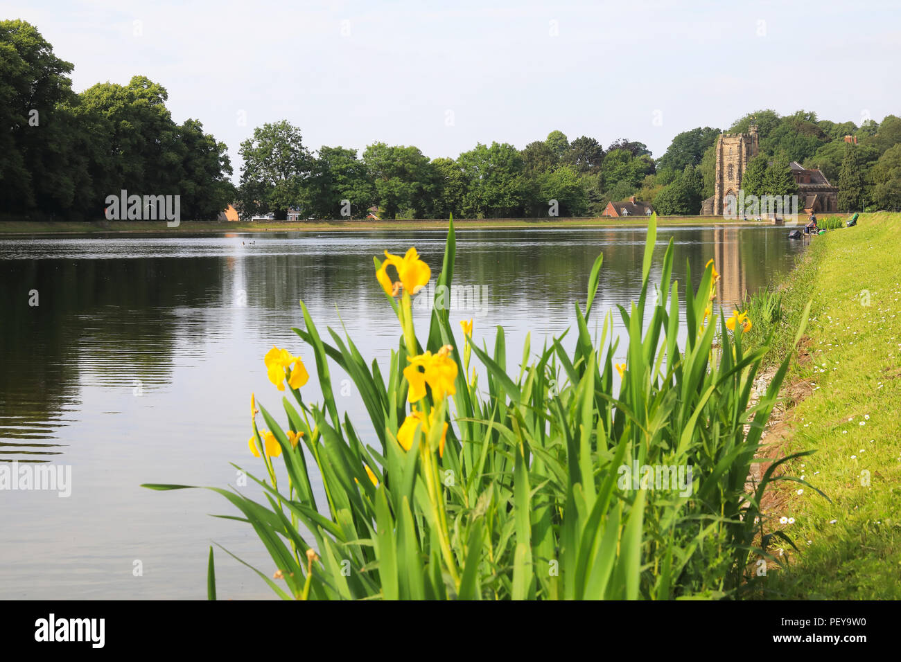 The Parish Church of Saint Chad, on Stowe Pool, in Lichfield, in the heart of Staffordshire, in England, UK - Stock Image