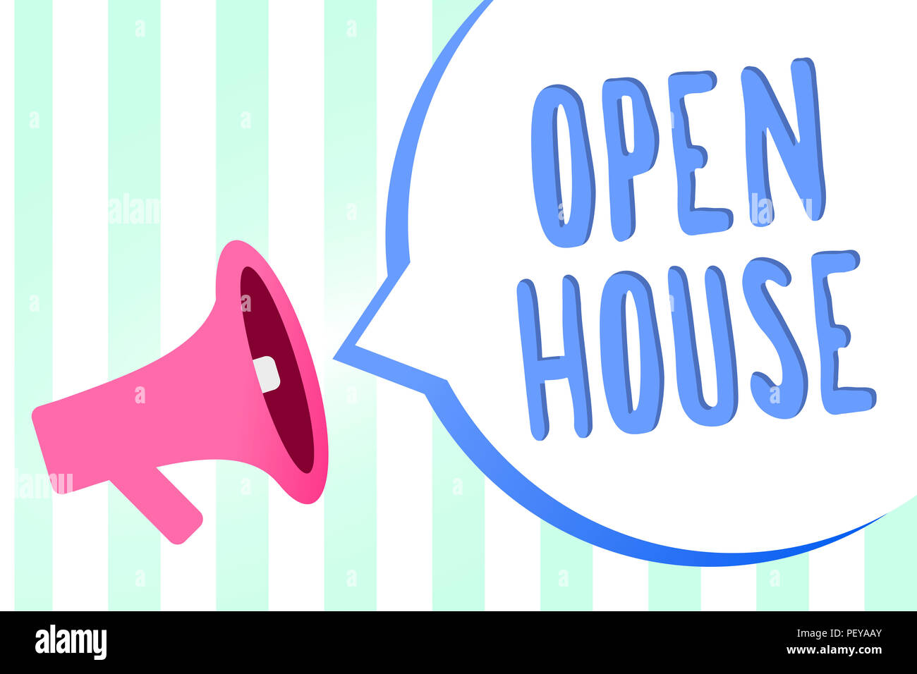 Handwriting text Open House. Concept meaning you can come whatever whenever want Make yourself at home Megaphone loudspeaker stripes background import - Stock Image