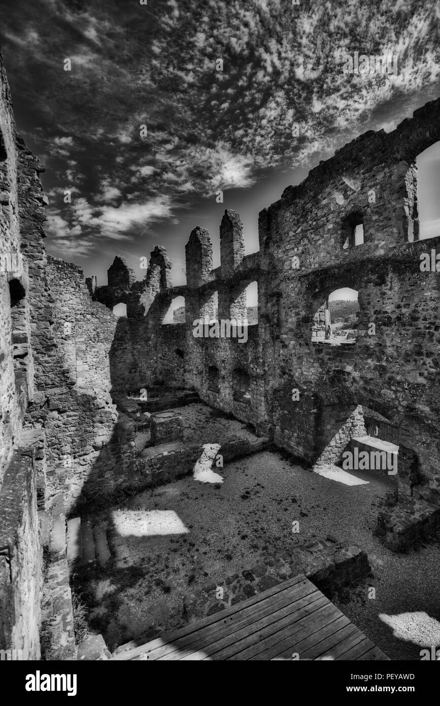 Black and white castle ruins