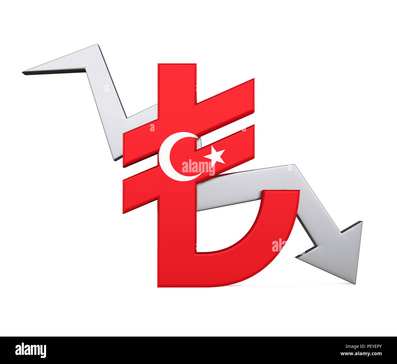 Turkish Lira Sign and Arrow Isolated Stock Photo