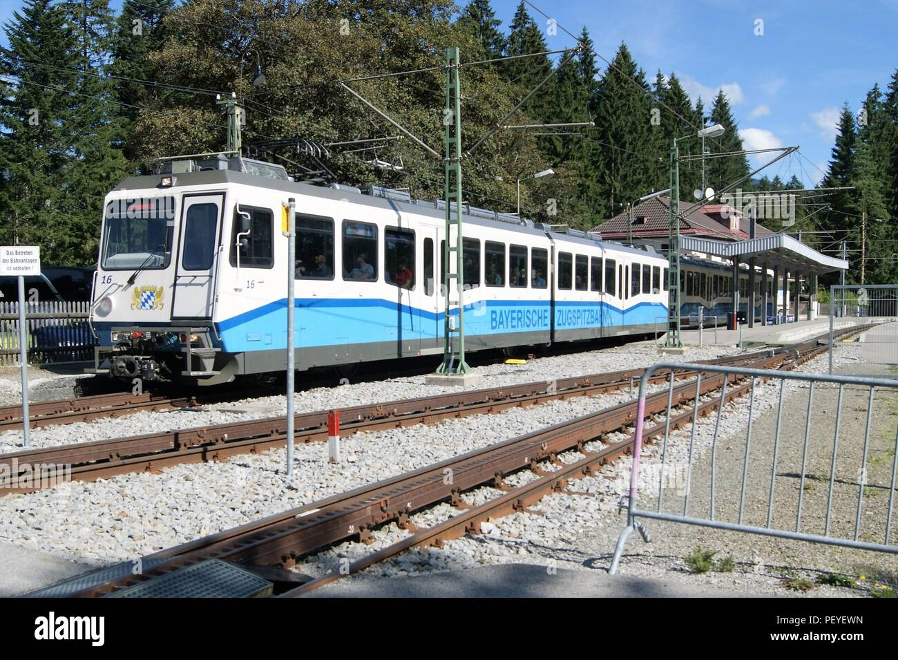 No 16 of the Bayerische Zugspitze Bahn calls at eibsee, bavaria - Stock Image