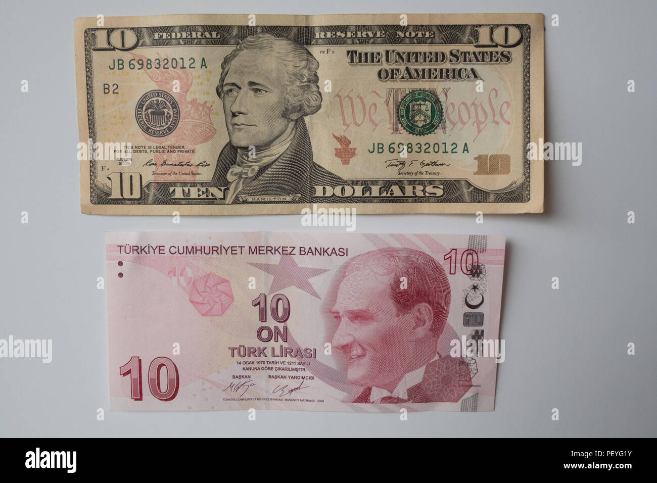 American dollar and Turkish Lira side by side Stock Photo