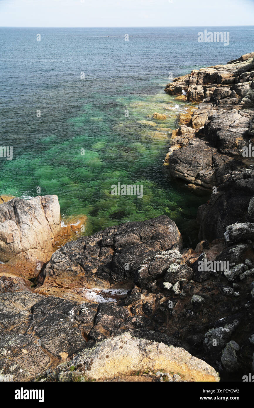 Rocky shore from the Mazes, St Martin's, Isles of Scilly, UK - Stock Image