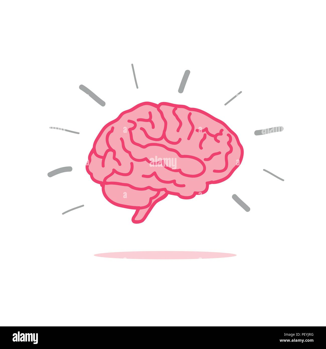 brainstorm pink brain icon vector illustration EPS10 - Stock Image