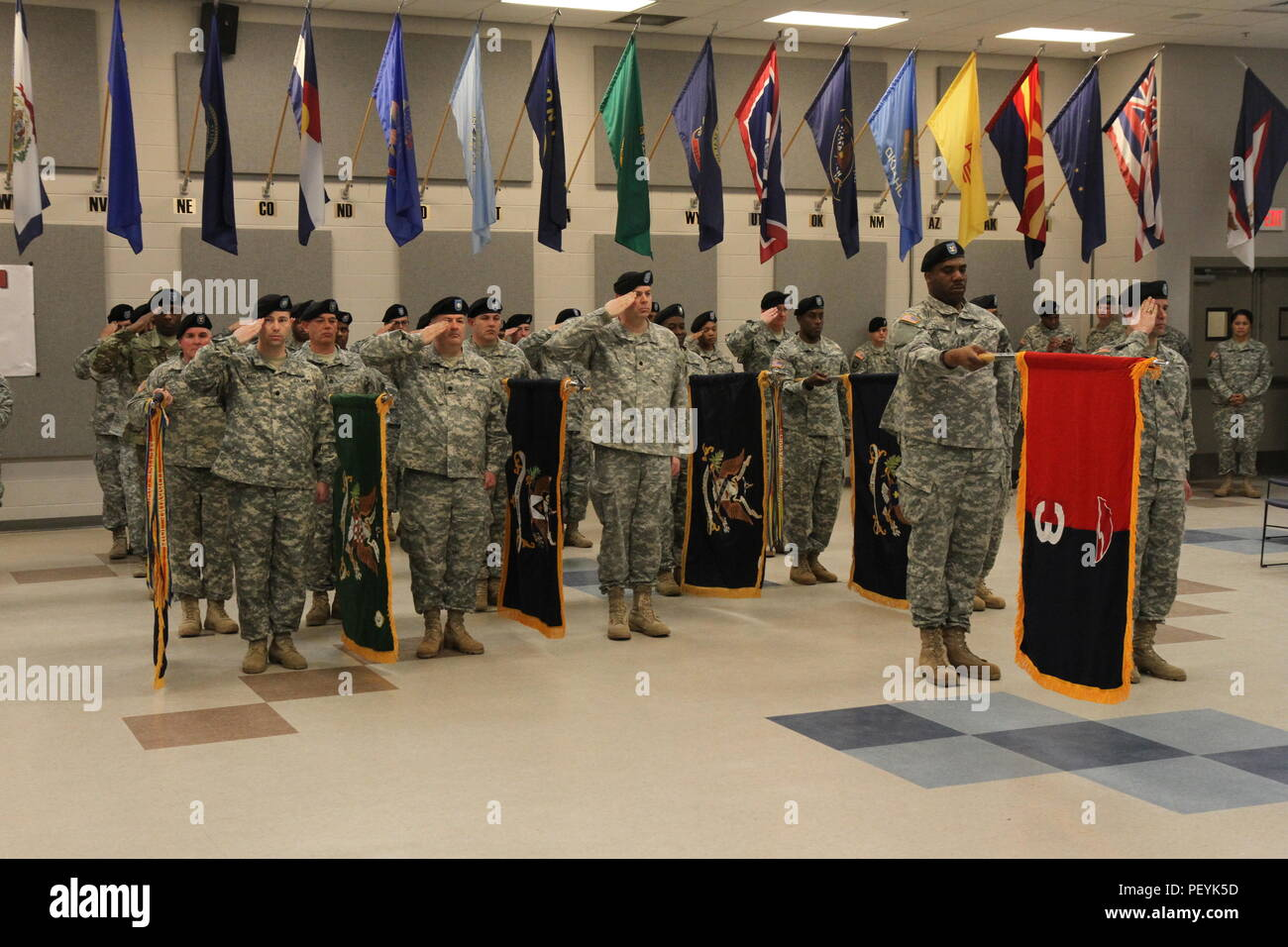 U.S. Army soldiers assigned to the 78th Training Divison stand in formation as Brig. Gen. Michael Dillard's assumes command at Joint Base McGuire-Dix-Lakehurst on Feb. 20, 2016. - Stock Image