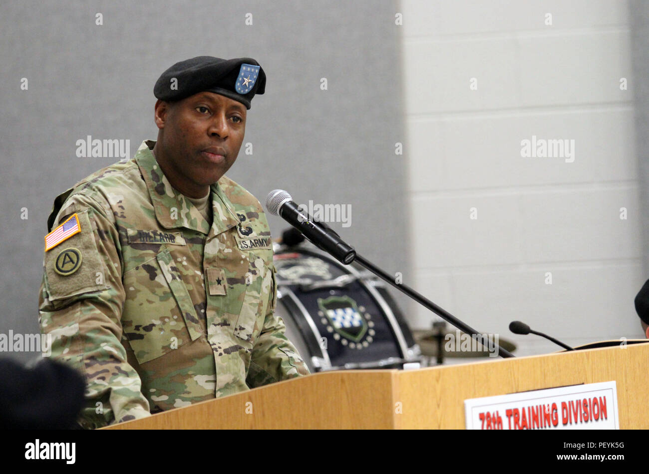 U.S. Army Brig. Gen. Michael Dillard speaks to soldiers during his change of command ceremony at Joint Base McGuire-Dix-Lakehurst, N.J., on Feb. 20, 2016. Stock Photo