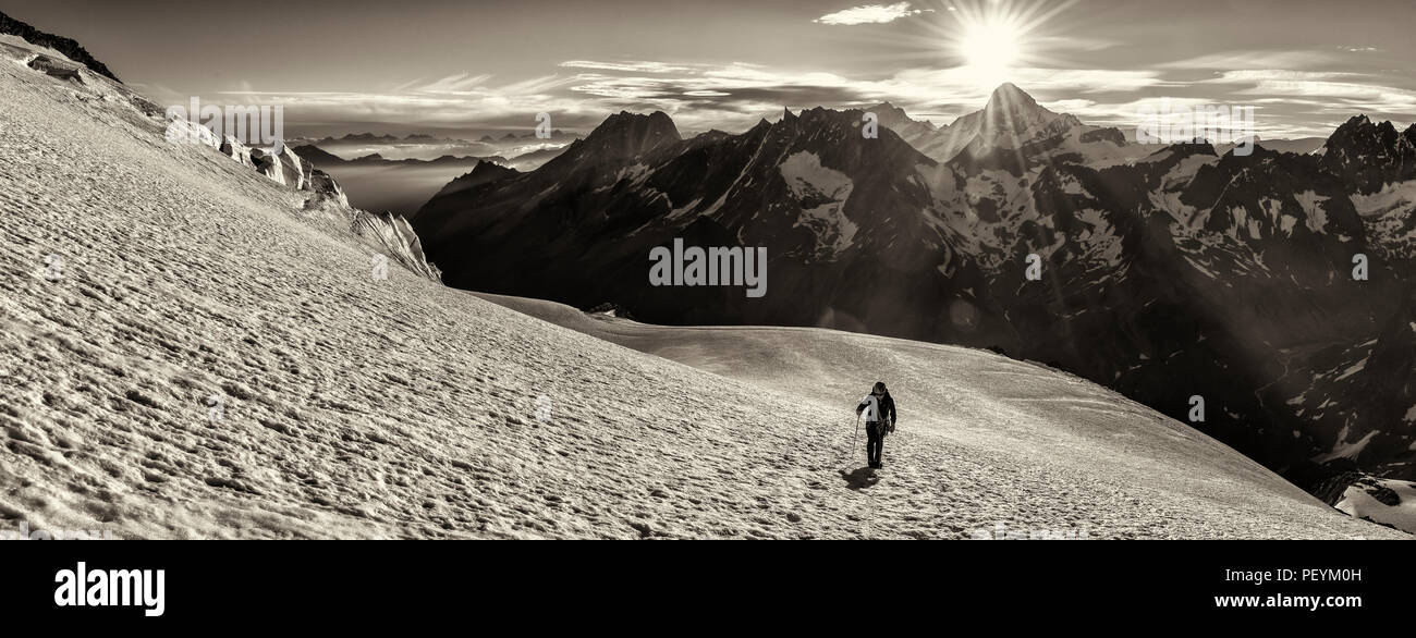A climber on the Pigne d'Arolla in the Swiss Valais alps Stock Photo