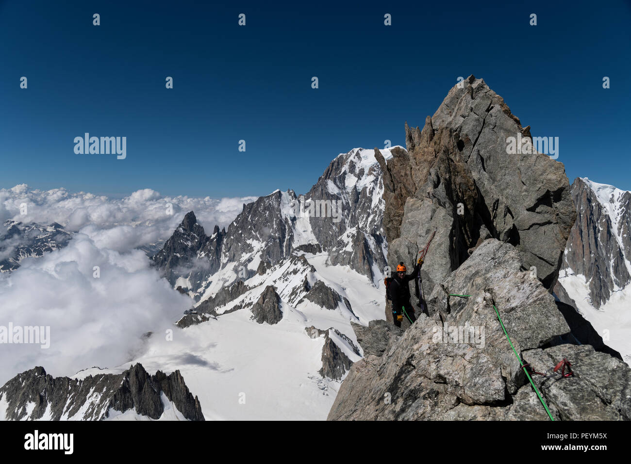 A climber on the Dent du Geant Stock Photo