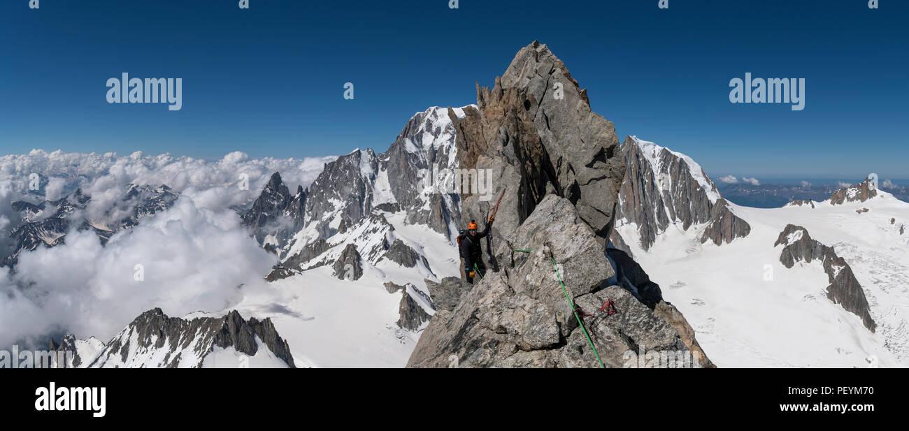 A climber on the Dent du Geant Stock Photo