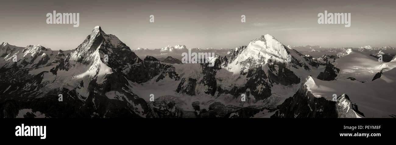 The Matterhorn and Dent d'Herens in morning light Stock Photo