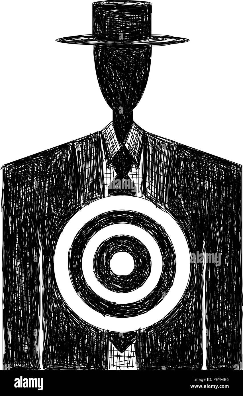 Target on Chest sketch - Stock Image