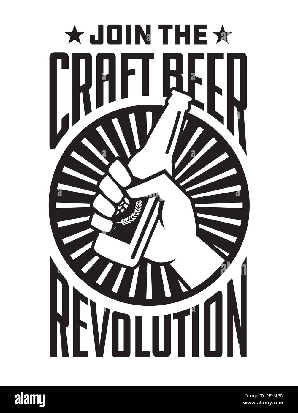 Craft Beer Revolution Vector Badge Or Label Design Fist Holding A