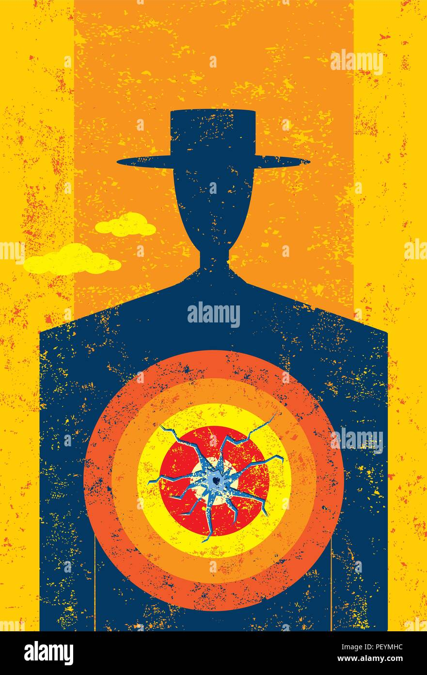 Target on Chest A man with a target on his chest. - Stock Vector