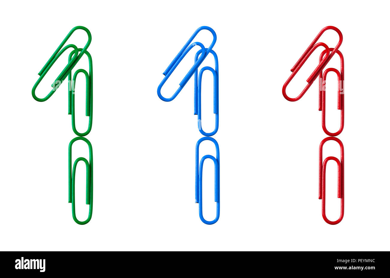 Multi-colored figures from paper clips isolated on white background. Number one. - Stock Image