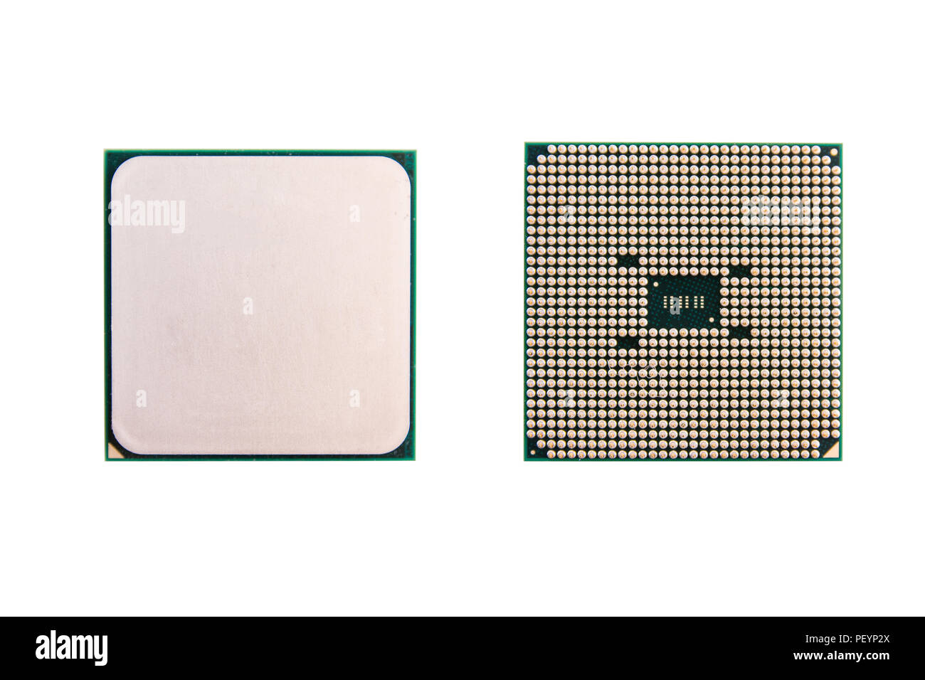 CPU (central processing unit). computer chip processors isolated on white background with clipping path - Stock Image