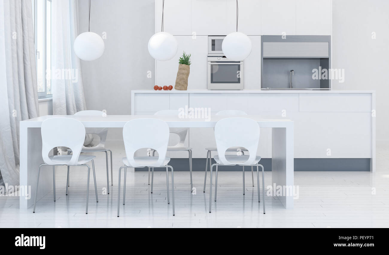 Modern dining room with white plastic chairs under white table and ...