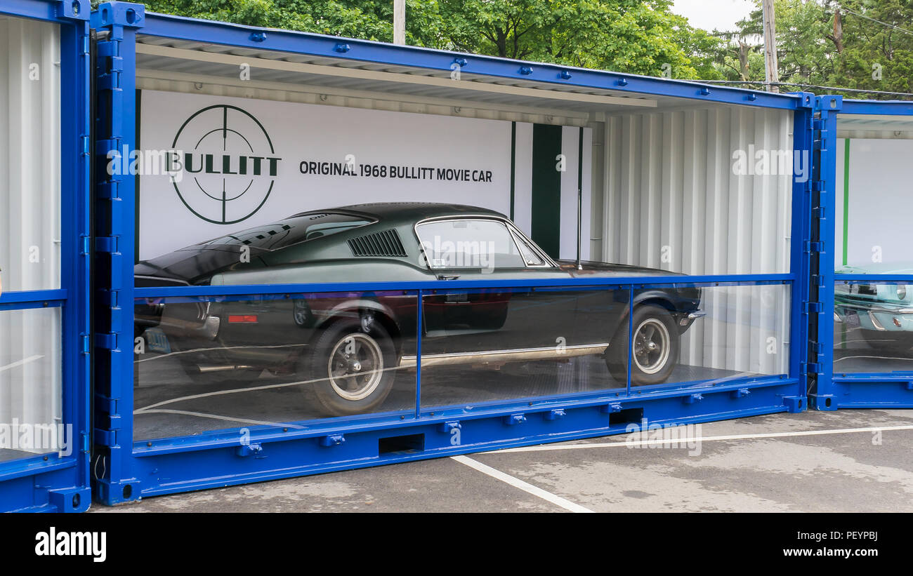 ROYAL OAK, MI/USA - AUGUST 17, 2018: Original 1968 Ford Bullitt Mustang on display at the Woodward Dream Cruise. Driven by actor Steve McQueen. - Stock Image