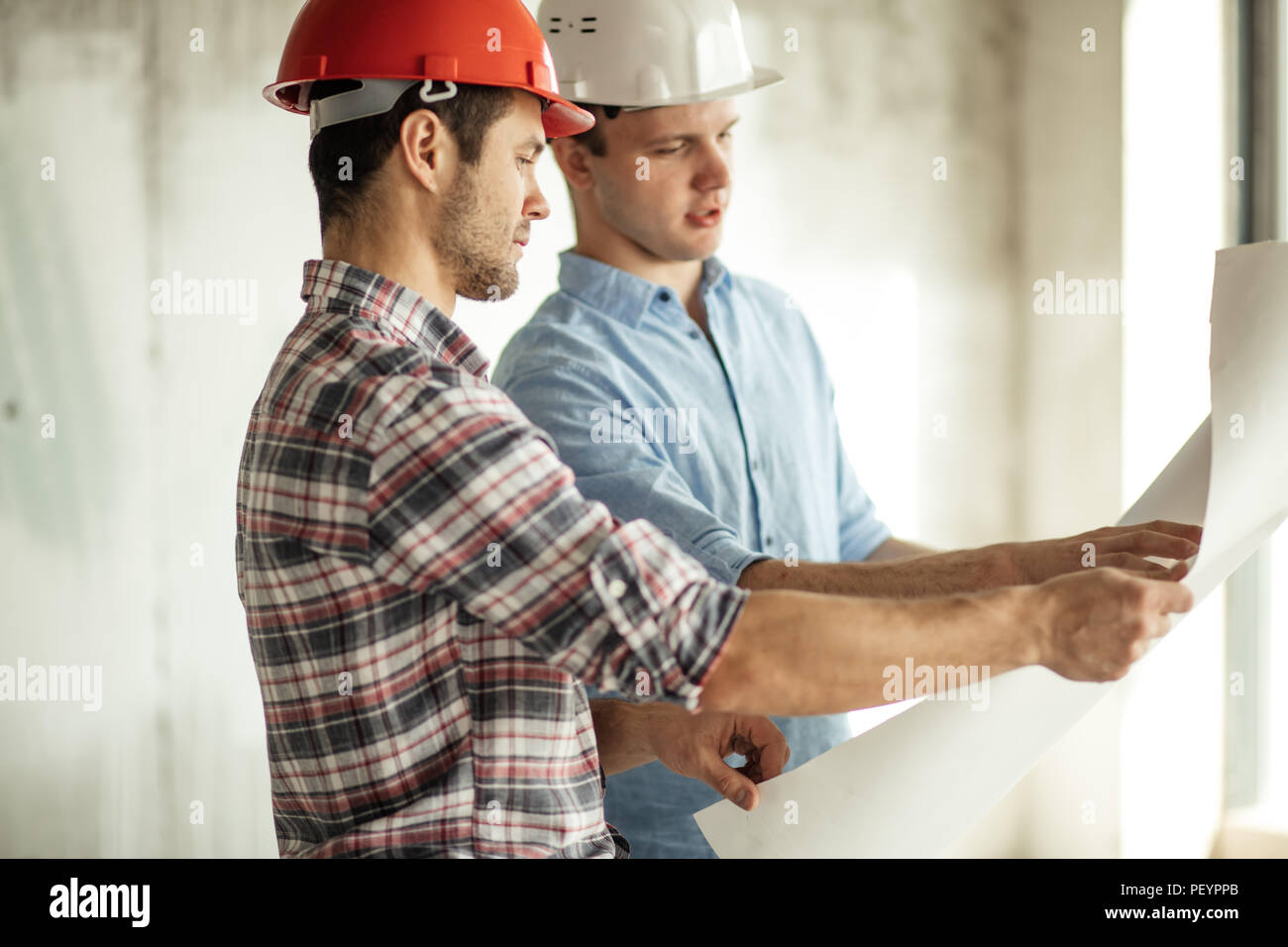 rebuilding operation. refurbishment work.perspective project for development of a city - Stock Image