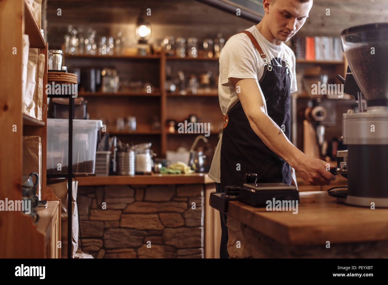barista's working day. working hours at the cafe - Stock Image