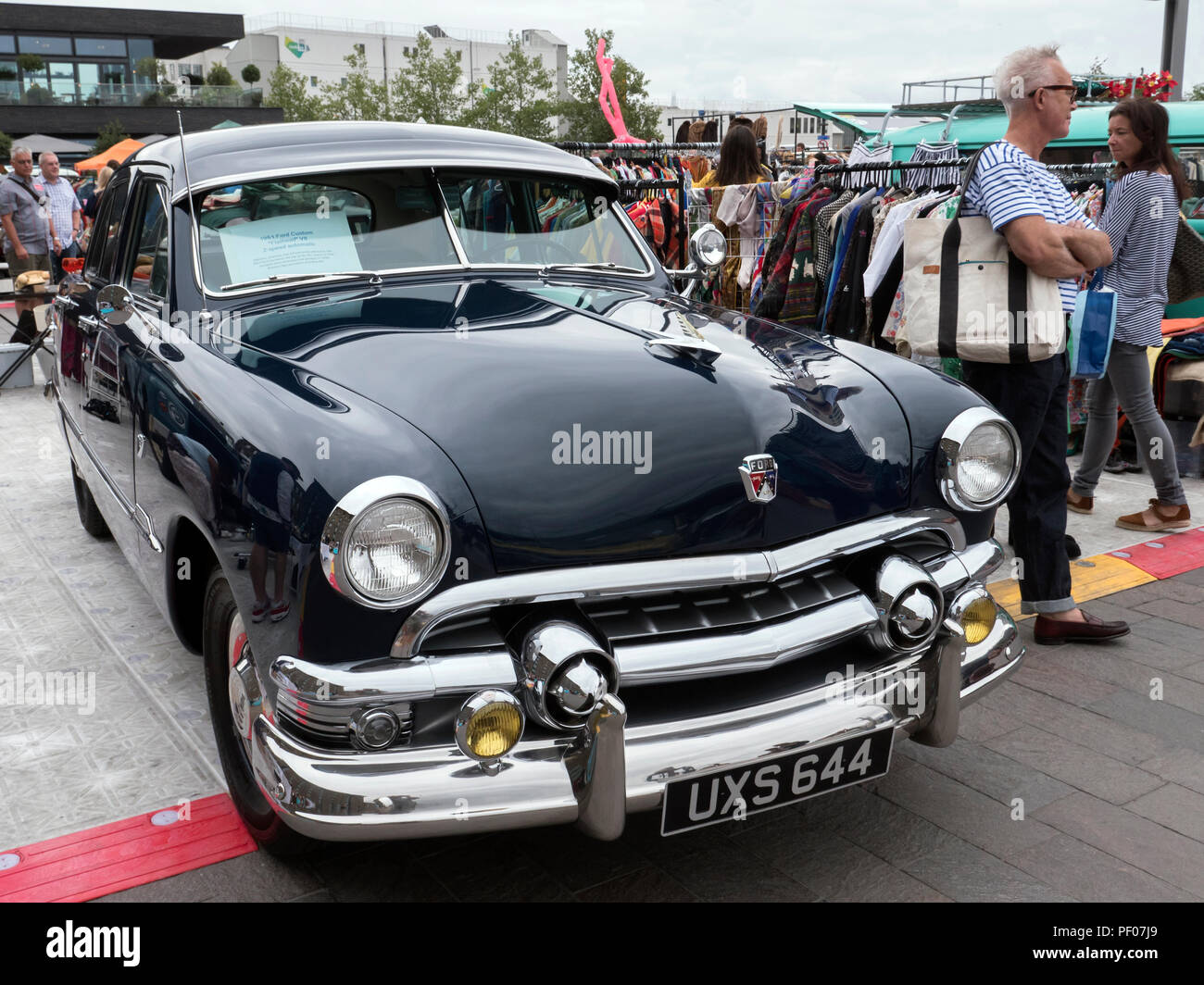 london, uk. 18th august 2018. market stall and classic cars at