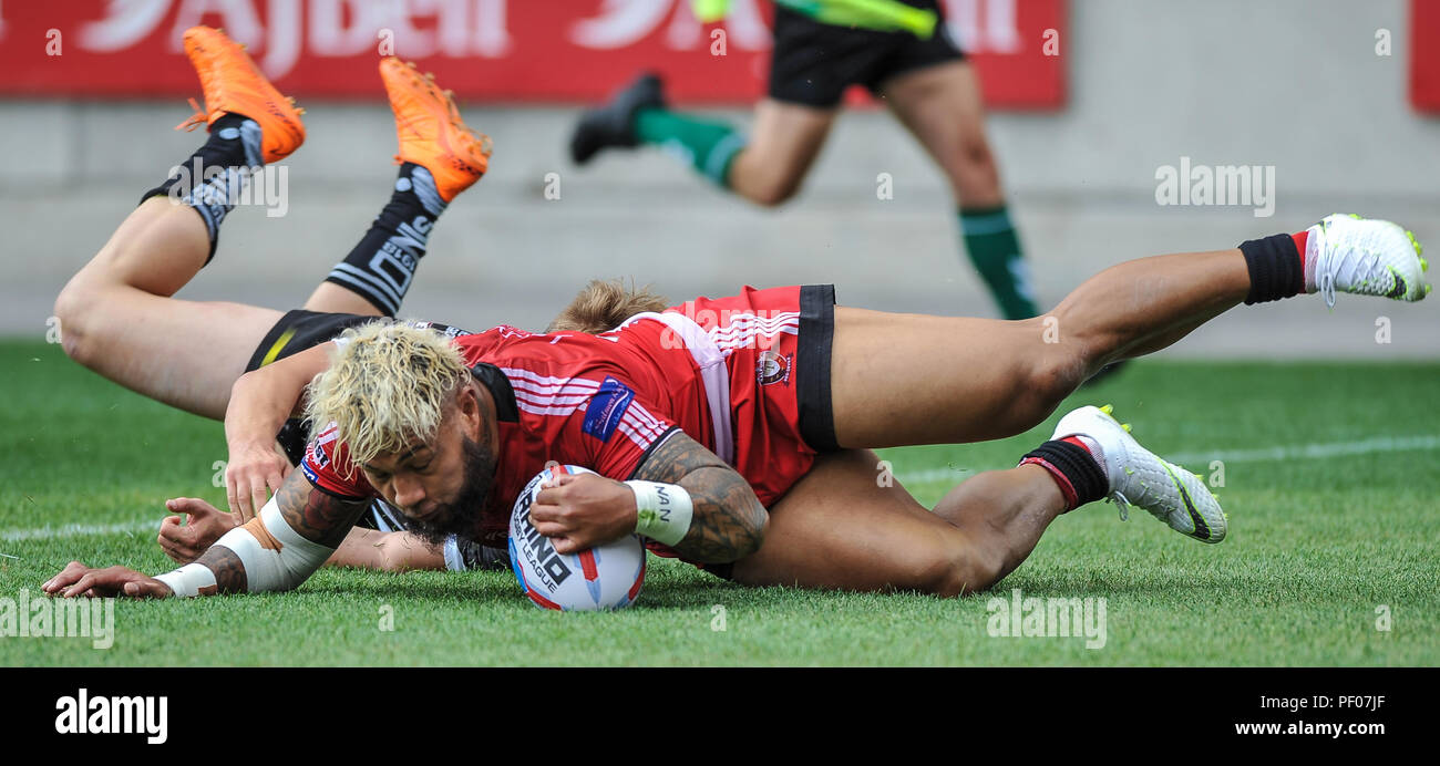 f572c24485479 Salford, UK. 18th August 2018. Rugby League Super 8's Salford Red Devils vs
