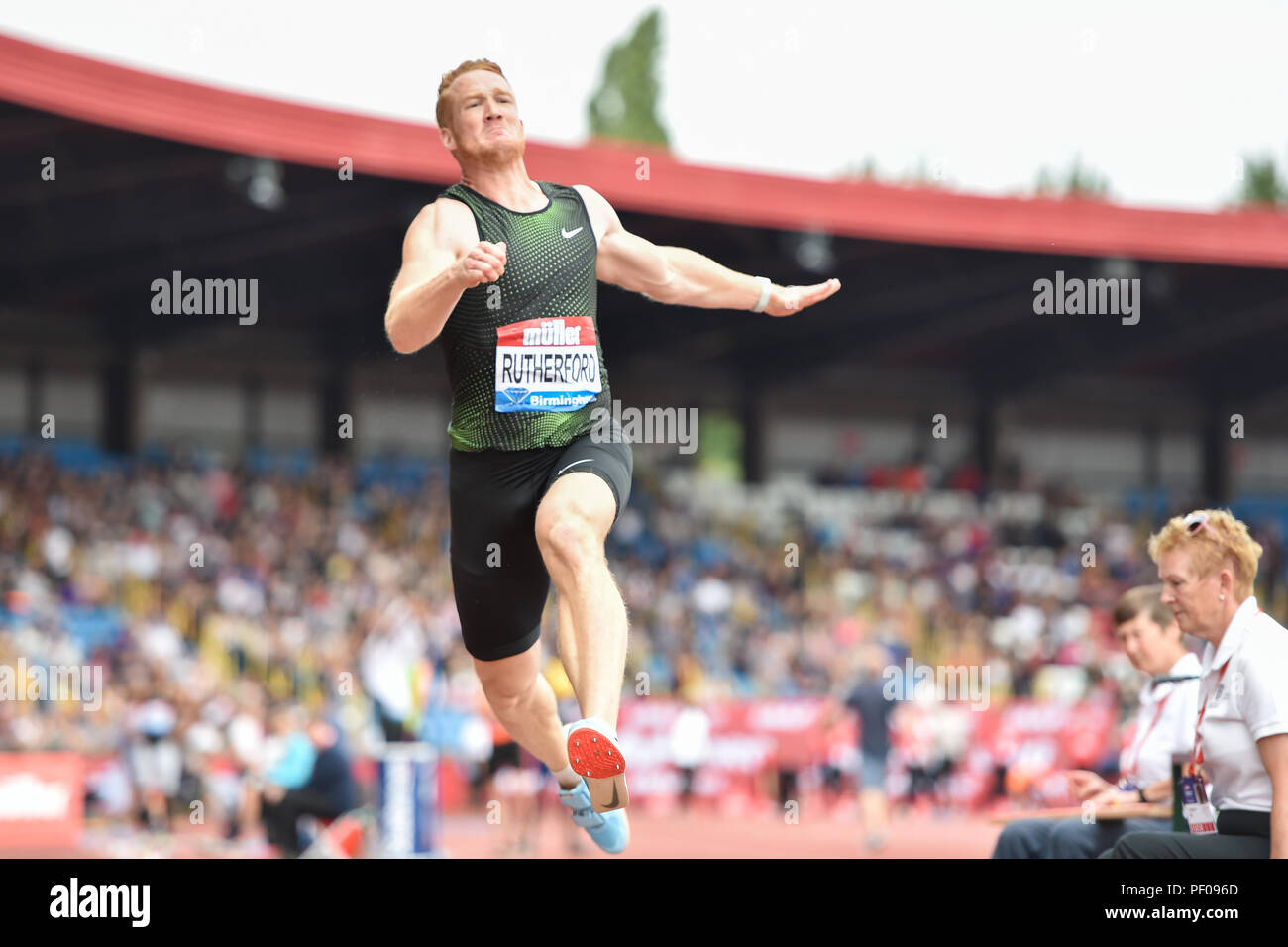 Birmingham, UK. 18th August 2018. Greg Rutherford competes his final Men's Long Jump during 2018 IAAF Diamond League - Birmingham at Alexander Stadium on Saturday, 18 August 2018. BIRMINGHAM, ENGLAND. Credit: Taka G Wu Credit: Taka Wu/Alamy Live News - Stock Image