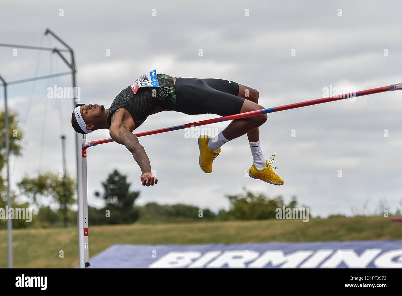 Birmingham, UK. 18th August 2018. Jeron Robinson (USA) in Men's High Jump during 2018 IAAF Diamond League - Birmingham at Alexander Stadium on Saturday, 18 August 2018. BIRMINGHAM, ENGLAND. Credit: Taka G Wu Credit: Taka Wu/Alamy Live News - Stock Image