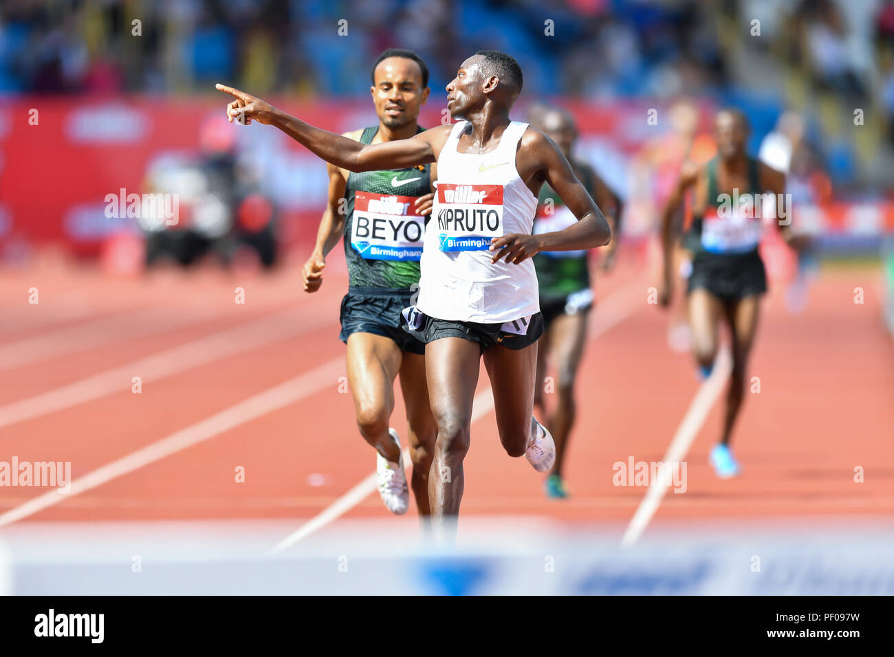 Birmingham, UK. 18th August 2018. Conseslus Kipruto (KEN) in Men's 3000m Steeplechase during 2018 IAAF Diamond League - Birmingham at Alexander Stadium on Saturday, 18 August 2018. BIRMINGHAM, ENGLAND. Credit: Taka G Wu Credit: Taka Wu/Alamy Live News Stock Photo