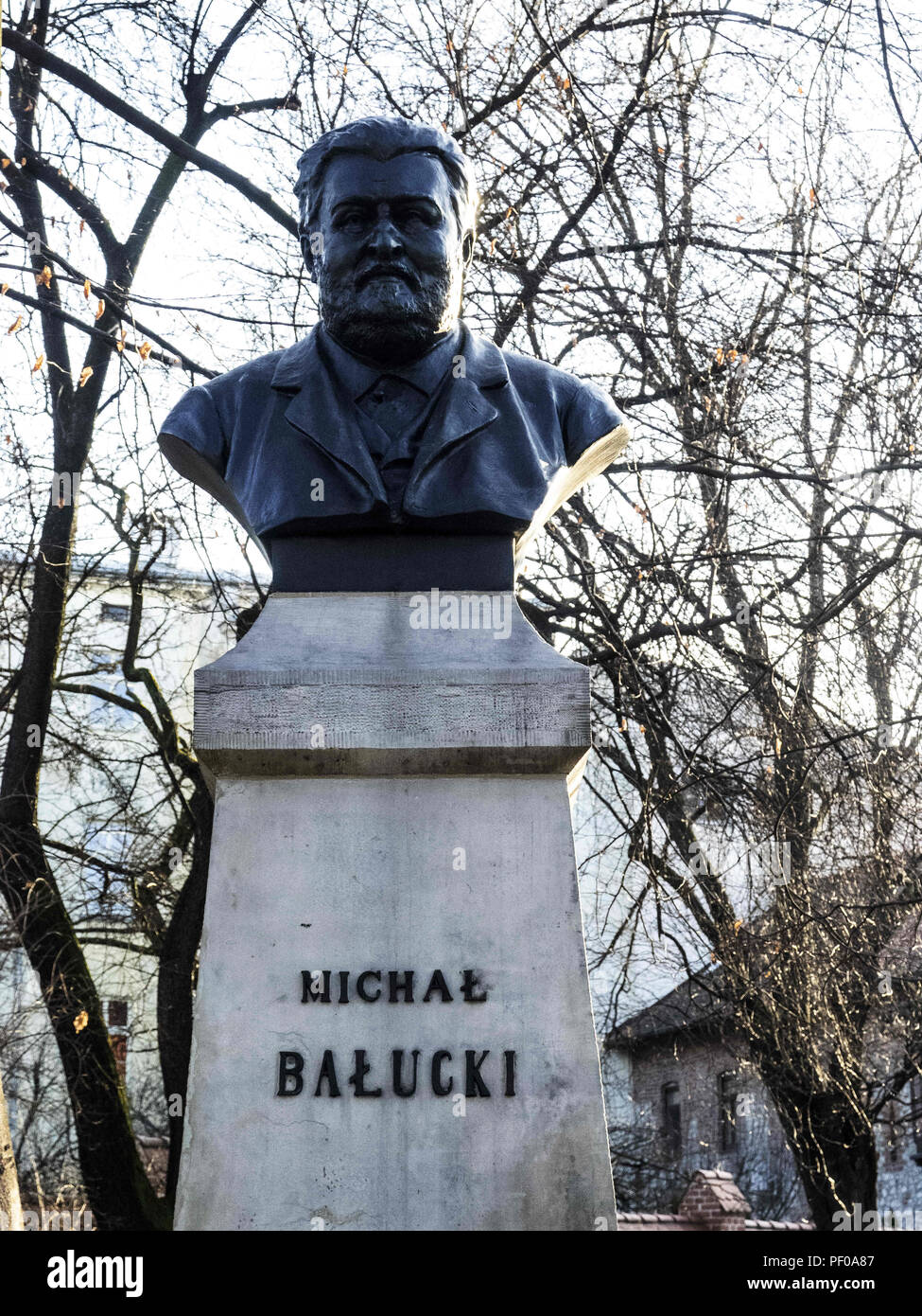 Krakow, Poland. 22nd Mar, 2018. Monument of Mihal Balucki. Mihal Balucki was a Polish playwright and poet.The city of Krakow is located in southern Poland and it is the second largest city in terms of population in Poland, in 2017 it had a population of over 760,000. Credit: Igor Golovniov/SOPA Images/ZUMA Wire/Alamy Live News Stock Photo