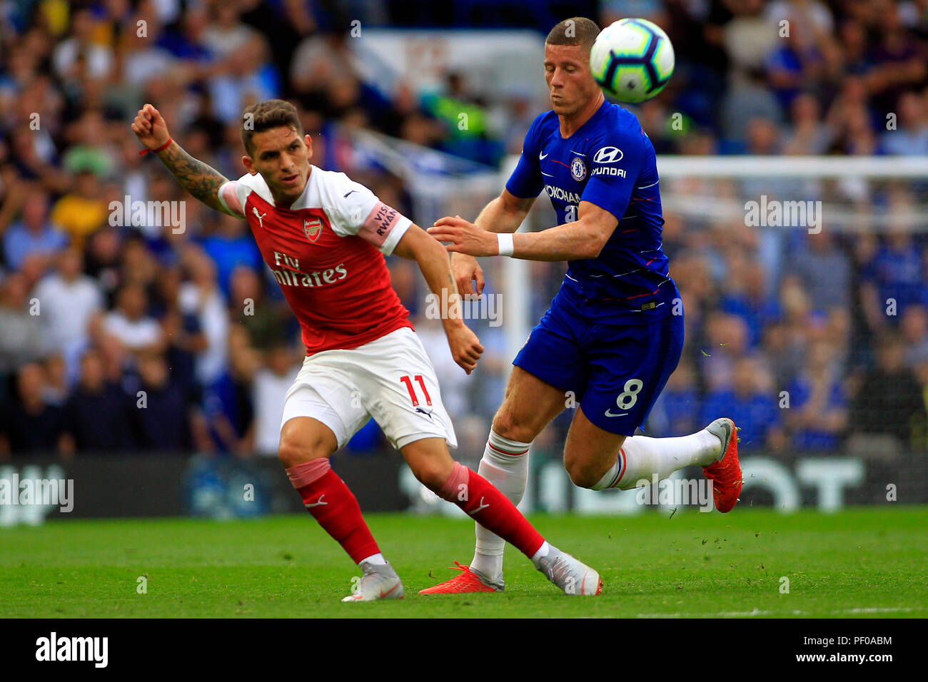 Lucas Torreira Of Arsenal L In Action With Ross Barkley Of Chelsea R Premier League Match Chelsea V Arsenal At Stamford Bridge In London On Saturday