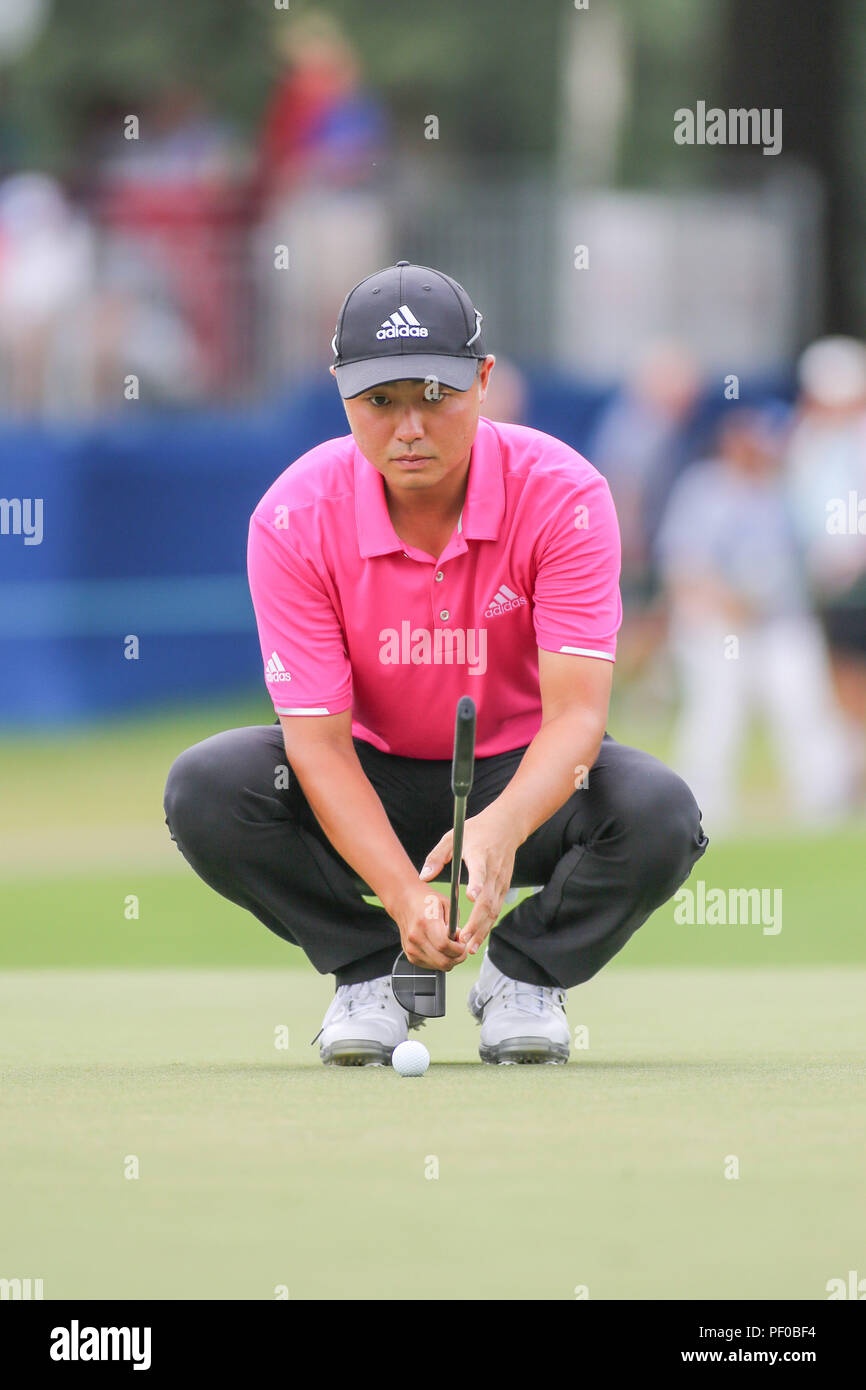 August 18, 2018: John Oda prepares to putt for birdie on the 10th green during the third round of the Wyndham Championship at Sedgefield Country Club in Greensboro, NC. Jonathan Huff/CSM - Stock Image
