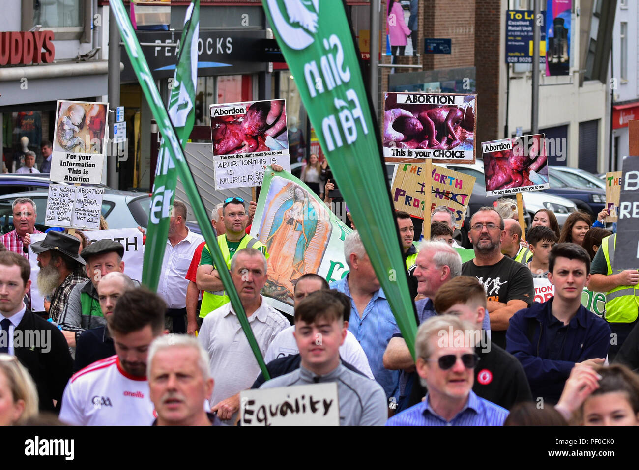 County Tyrone, UK. 18 August 2018. Sinn Féin Party Civil Rights Commemoration march 50 years on from the first march from Coalisland to Dungannon whilst a Pro Life counter protest and march takes place against Sinn Féin's policy on supporting Abortion.  Coalisland: County Tyrone: UK: 18th August 2018  Credit: Mark Winter/Alamy Live News - Stock Image