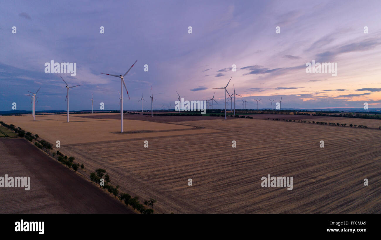 Windpark in eastern Germany in the evening - Stock Image