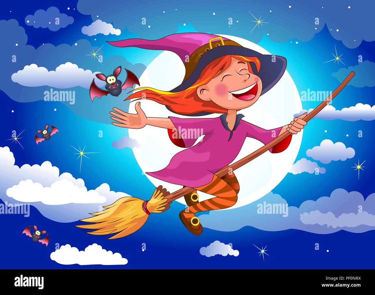 Night on Halloween. A little witch flying on a broomstick. A joyous little witch flies on a broomstick in the night sky, against the background of the - Stock Vector