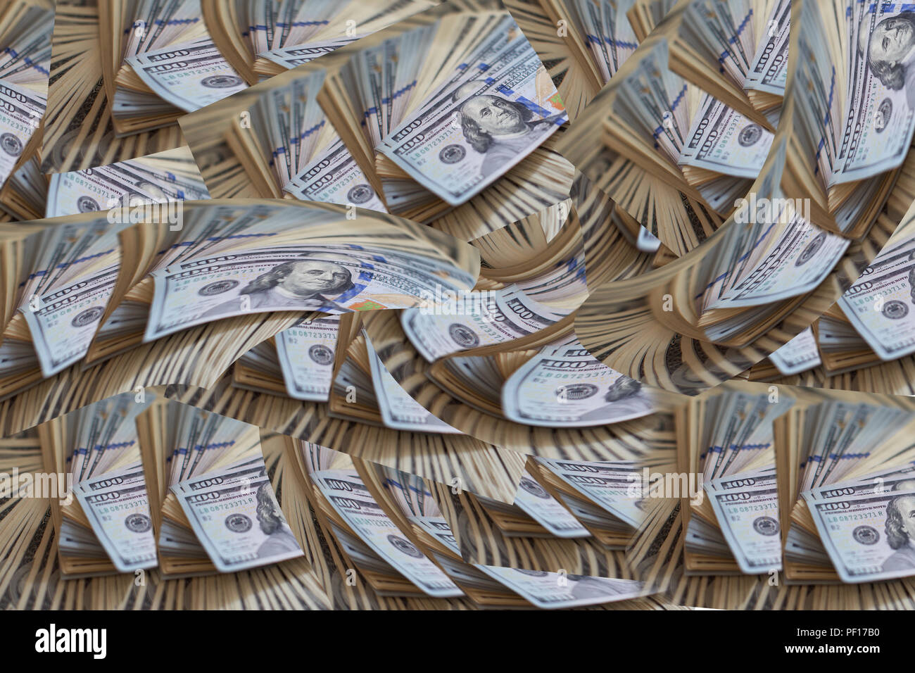 A lot of dollars. A bundle of money. The concept of wealth. Dollars - Stock Image