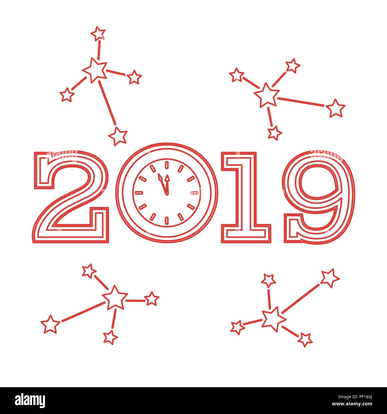 christmas and new year 2019 card vector new year background with clock and stars design for postcard banner print