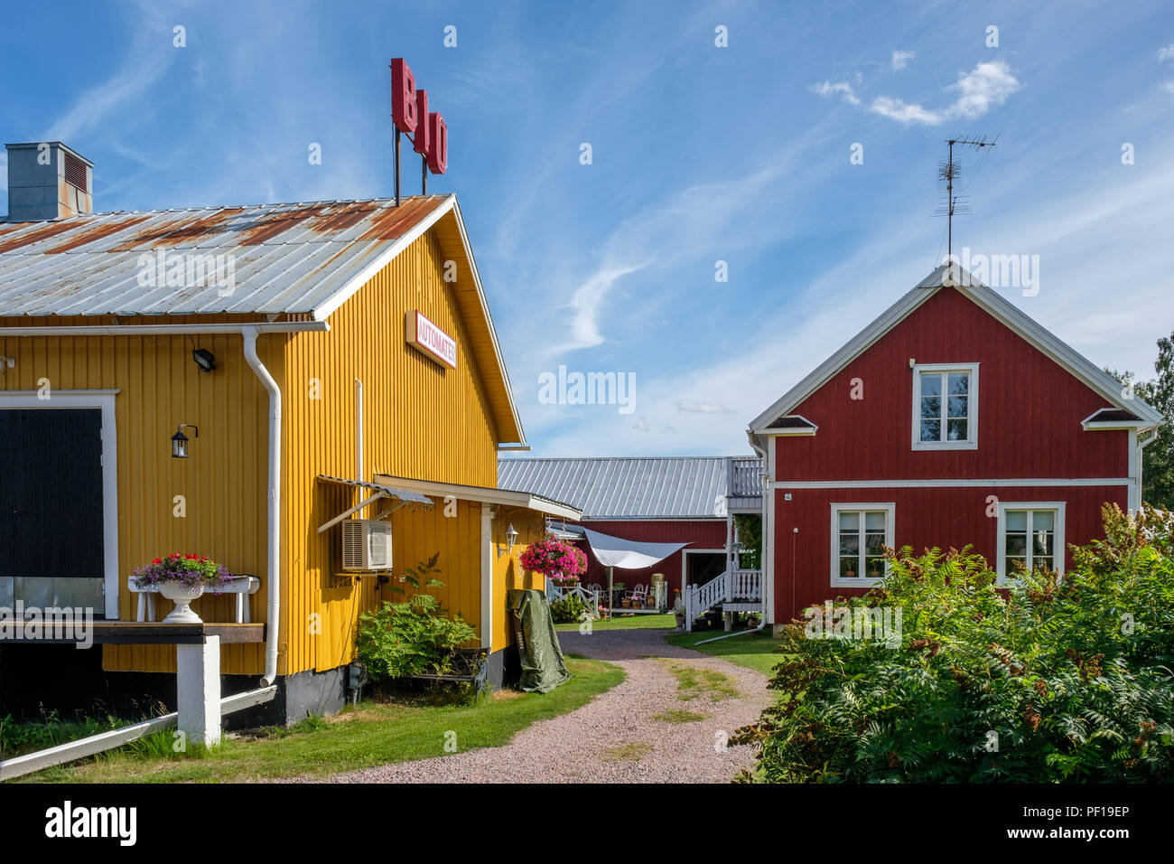 The cinema in Pajala in northern Sweden. The cinema is mentioned in a classic Swedish song called Vintersaga. - Stock Image