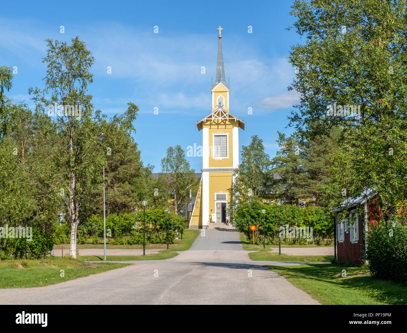 Pajala church in northern Sweden. The church was built in Kengis 1797 and moved to Pajala during 1869-71. - Stock Image