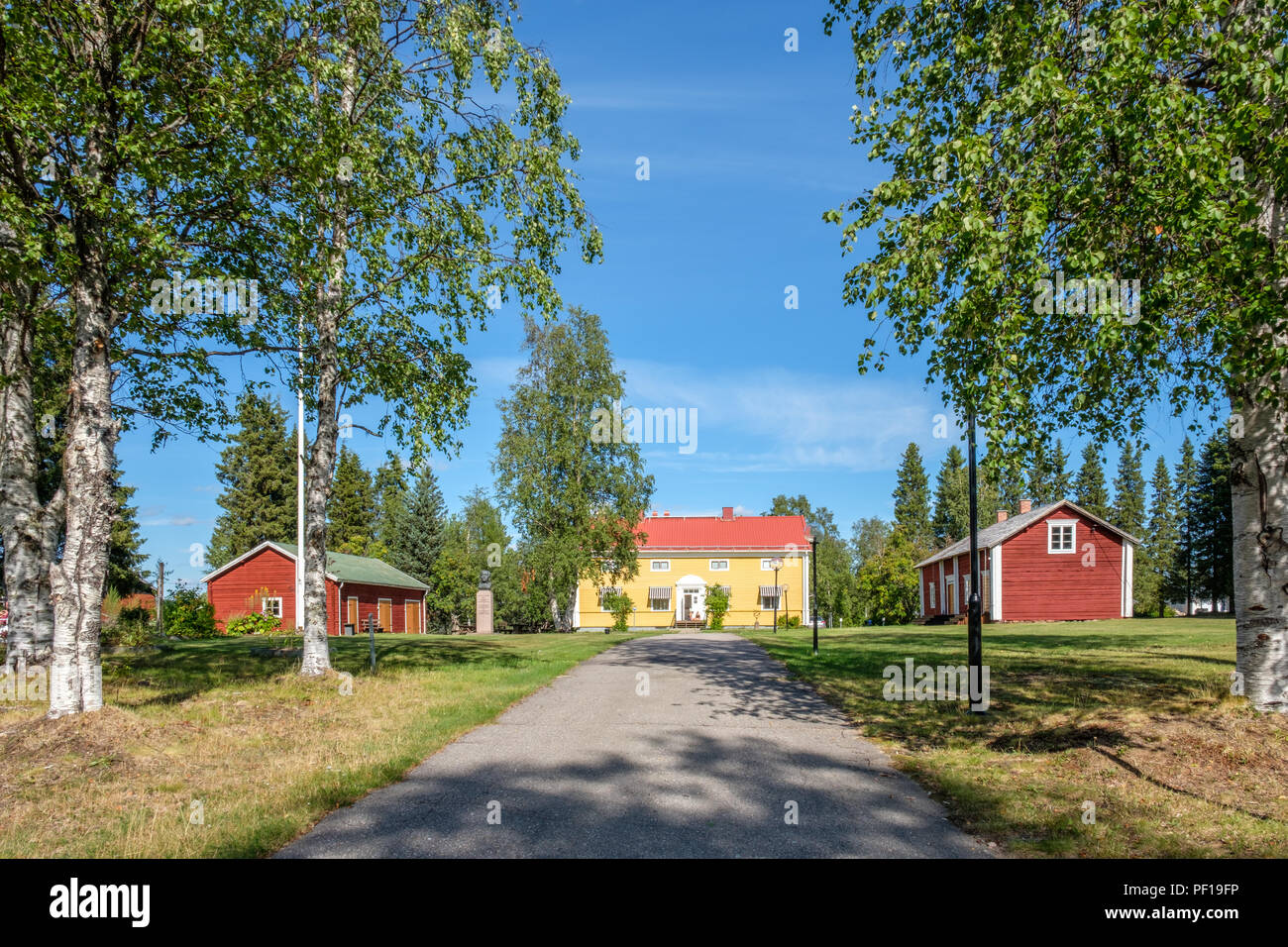 The manse in Pajala in northern Sweden. The red building to the right was built for legendary priest lars Levi Laestadius. - Stock Image