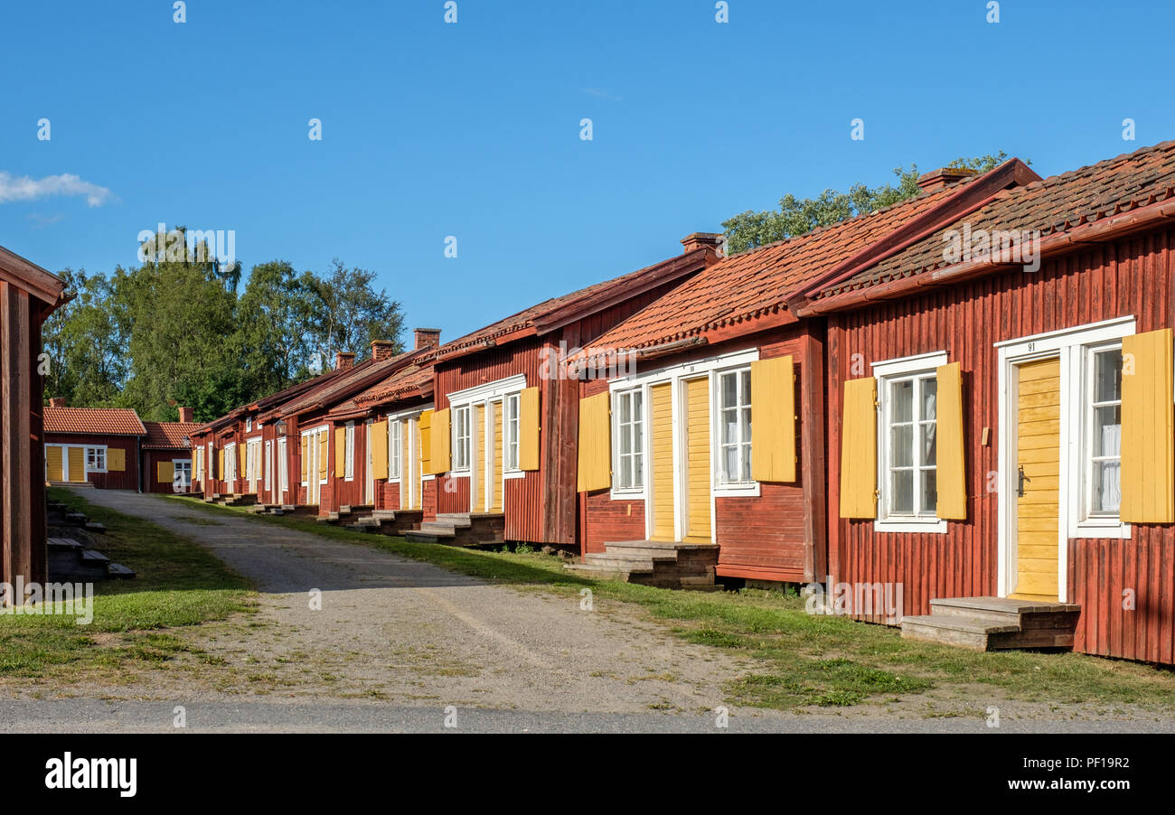 Lövånger church town in northern Sweden dates back to the 17th century and consists of 117 cottages of which many are used for hostel lodging. - Stock Image