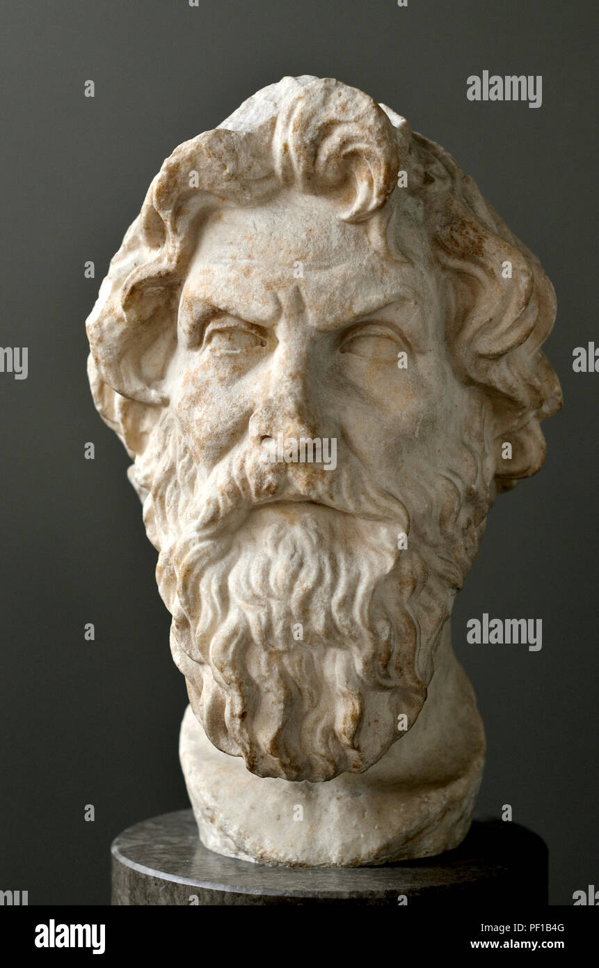 Marble bust of Antisthenes (Greek philosopher: c450-370 BC) founder of the Cynic school of philosophy. British Museum, Bloomsbury, London, England, UK - Stock Image