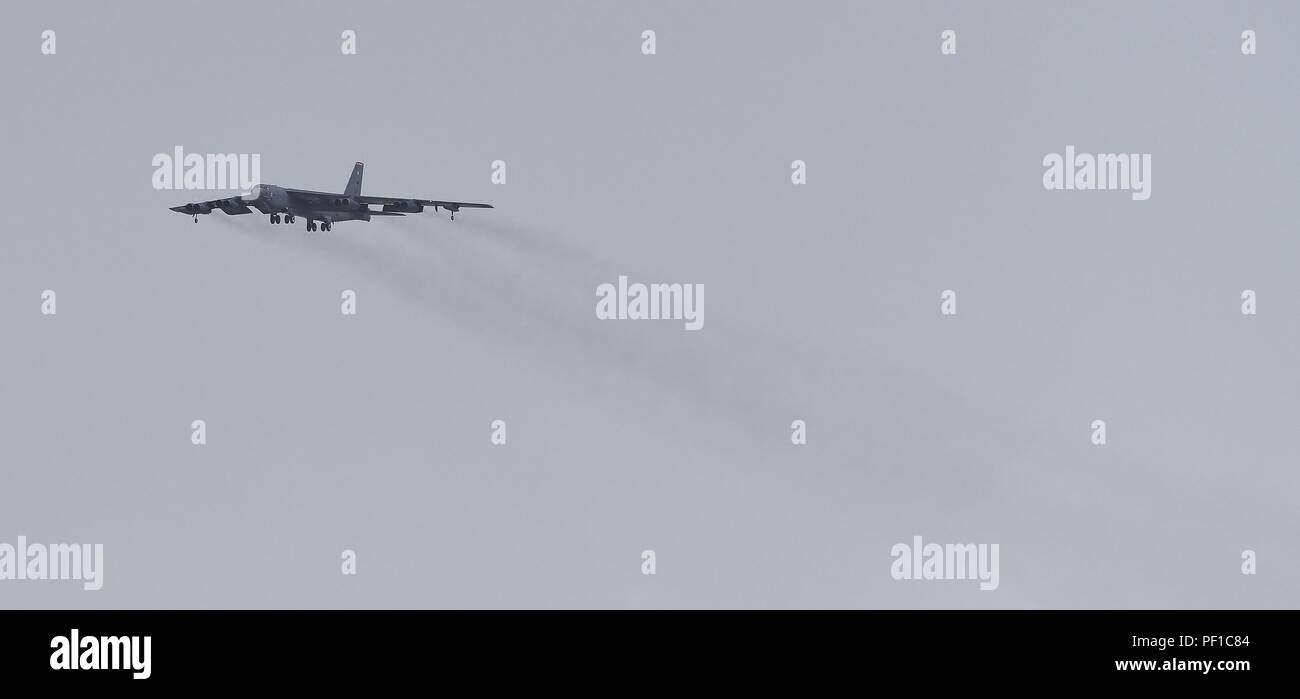 B-52 Bombers from Barksdale AFB deployed to Al Udeid Air Force Base in Qatar during Operation Inherent Resolve - Stock Image