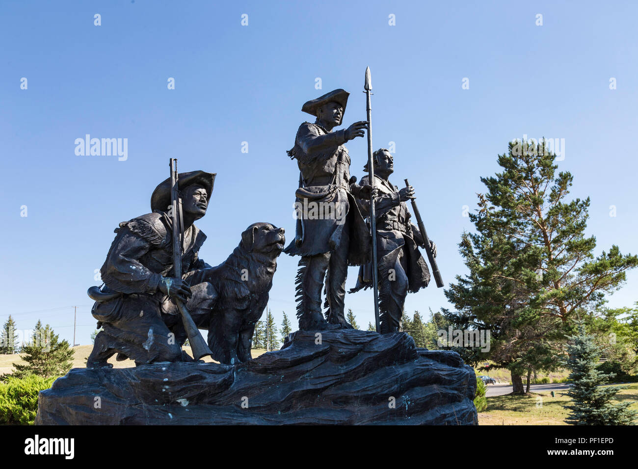 'Explorers at the Portage' Sculpture by Bob Scriver in Great Falls, Montana, USA - Stock Image