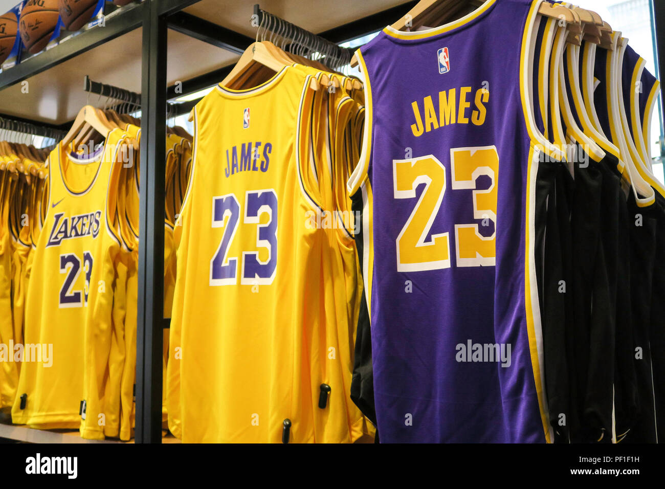 reputable site ee611 25a0a Lebron James and Lakers Branded Merchandise at the NBA Store ...