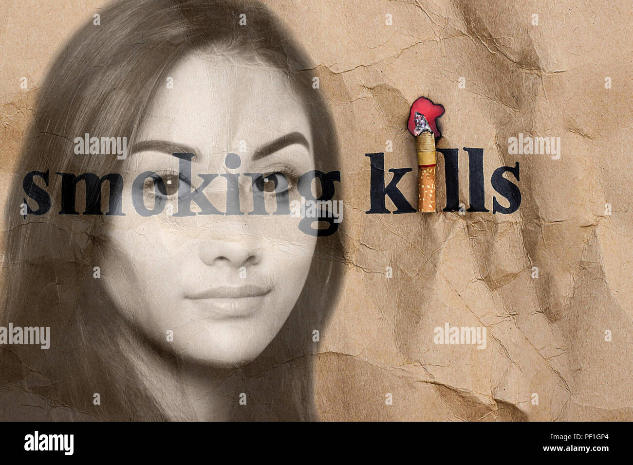 Health care conceptual teenage wooman with cigareete health sign - Stock Image