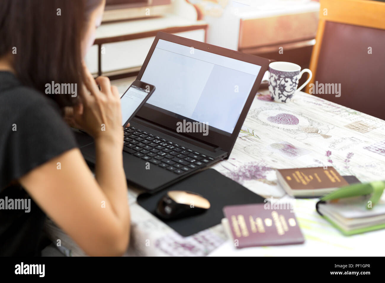 Business woman doing Passport application form fIlling on comput - Stock Image