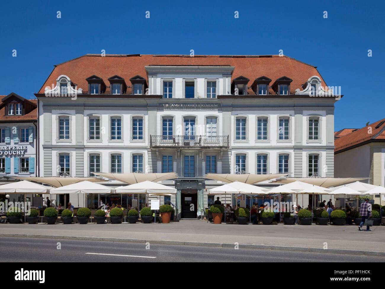 Angleterre & Residence Hotel, Place du Port, Lausanne, Switzerland - Stock Image
