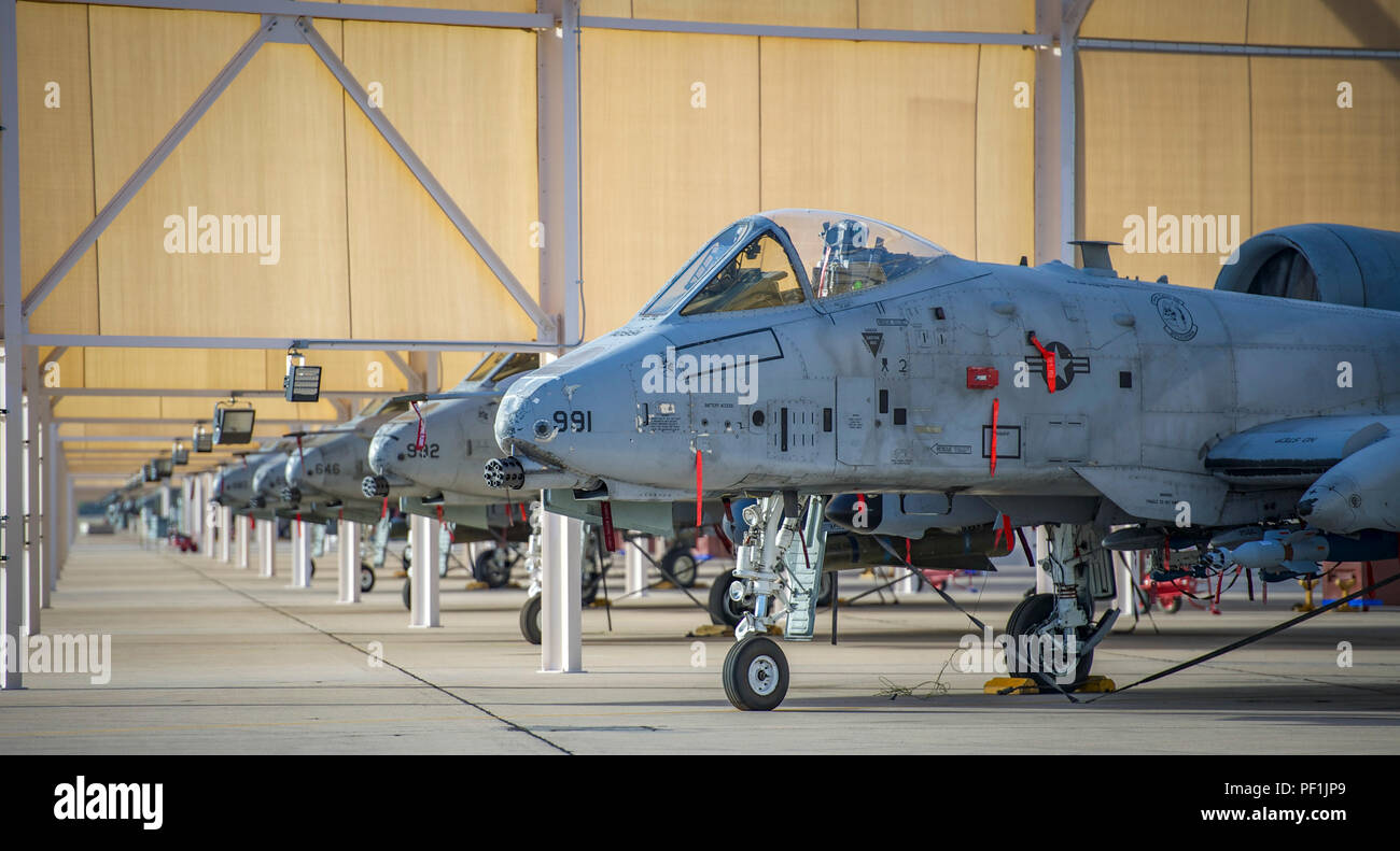 A-10 Thunderbolt II aircraft sit on the flightline at Davis-Monthan Air Force Base, Arizona on March 4, 2016. (U.S. Air Force Photo by Tech. Sgt. Brandon Shapiro) Stock Photo